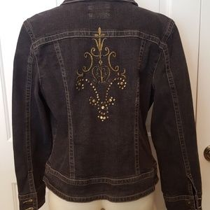 Denim Jacket with Embroidered/Stud Detail